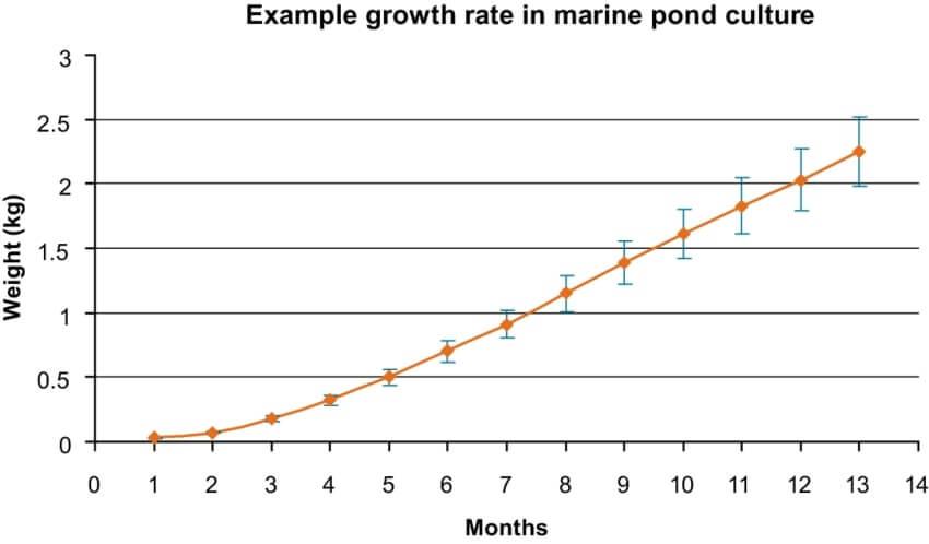 barramundi aquaponics growth rate chart